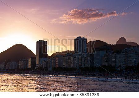 Copacabana Beach by Sunset, Rio de Janeiro, Brazil