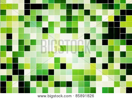 Abstract background with square tiles of green color