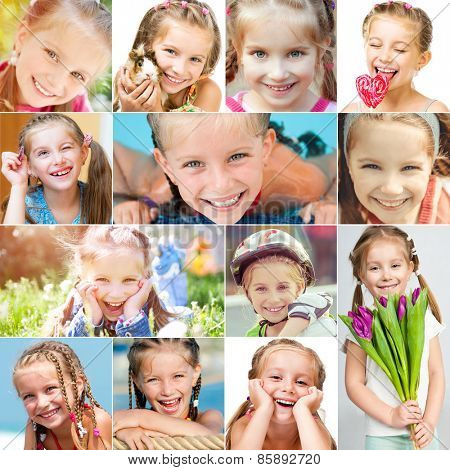 photo collage of a little girl with a pretty face in a good mood