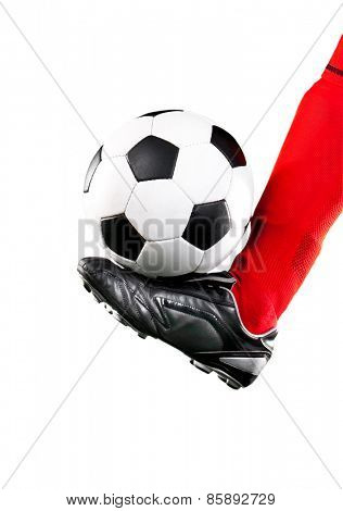 soccer ball and feet isolated on a white background