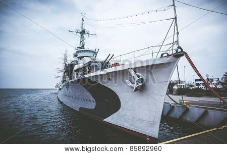 Warship  destroyer serving in the Polish Navy during World War II,  preserved as a museum ship in Gdynia