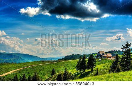 Mountain Cabin Landscape