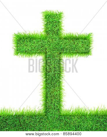 Cross from green grass. Christianity symbol