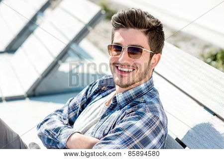 Portrait of a young handsome man outdoor