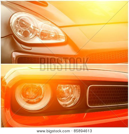 Collage of beautiful sunny part of luxury cars