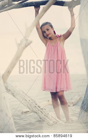 Summer vacation, portrait of lovely fashion young girl on the beach