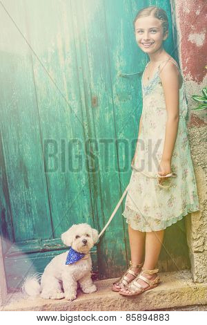 Portrait of fashion girl with maltese dog, Italy - filtered (cross processed)