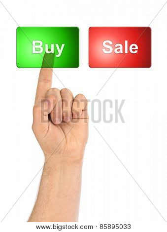 Hand and business buttons isolated on white background
