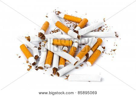 Broken cigarettes isolated on white background