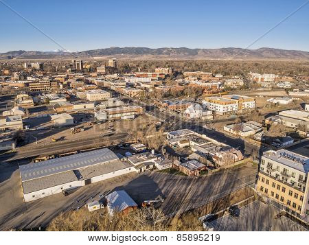 FORT COLLINS, CO, USA - MARCH 21, 2015: Aerial view of Fort Collins downtown,  early spring scenery with morning light
