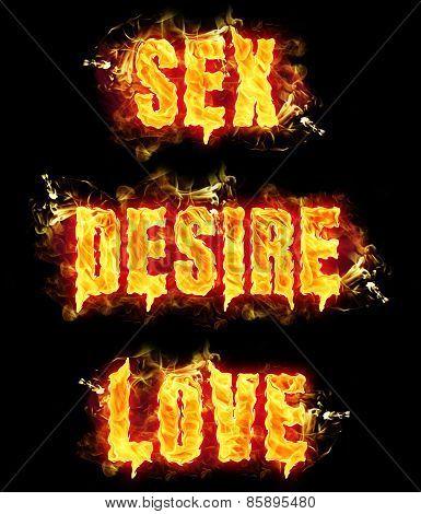 Fire Text Sex Desire Love