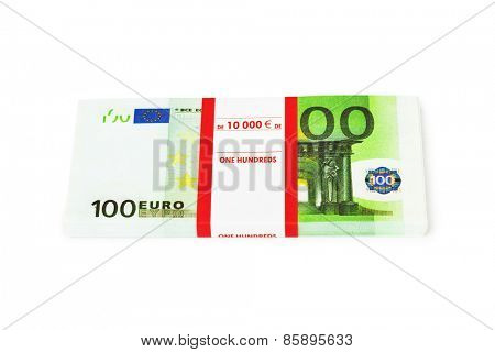 Money stack isolated on white background
