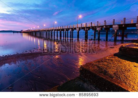 beautiful sunrise at the sea pier