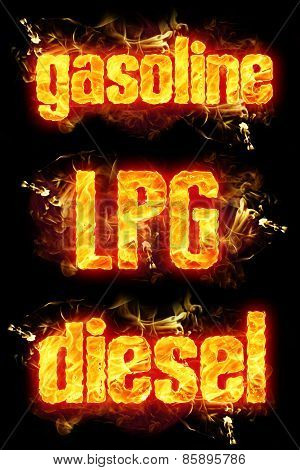 Fire Text Gasoline Lpg Diesel