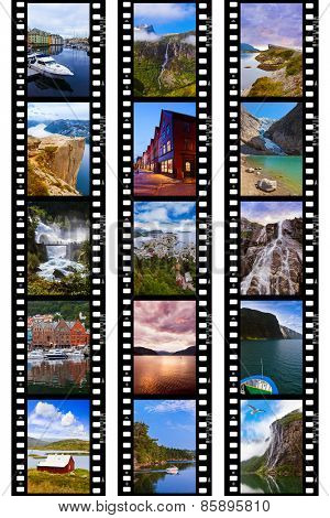 Frames of film - Norway travel images (my photos) - nature and architecture background