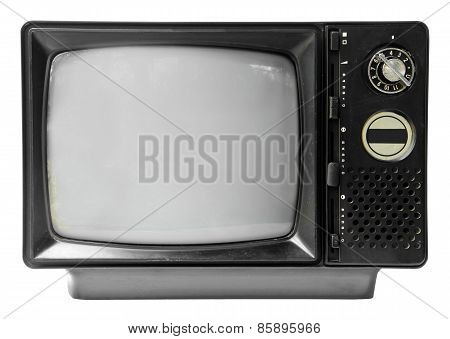 Vintage Television Isolated On The White Background