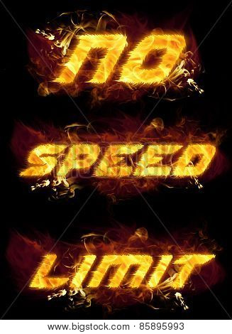 No Speed Limit Fire Text