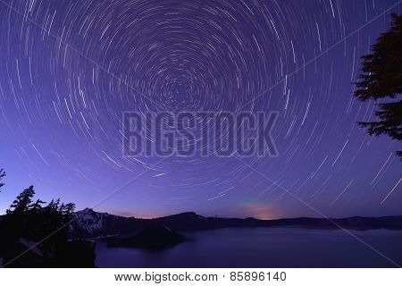 Crater Lake And Star Trails, Oregon