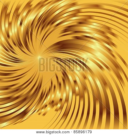 Abstract golden metallic background with swirl