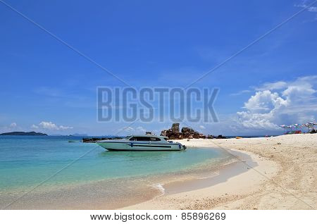 Beach With Speedboat