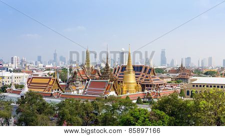 Aerial View Of Grand Palace And Emerald Buddha Temple In Bangkok