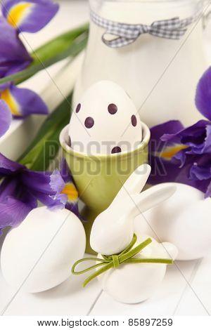 Easter rabbit and egg on white