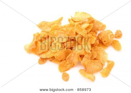 cornflakes pile on white