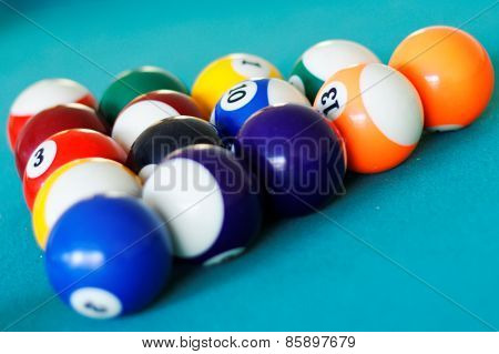 Pool balls racked in triangle
