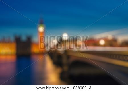 Bokeh background of Big Ben and Westminster bridge in London