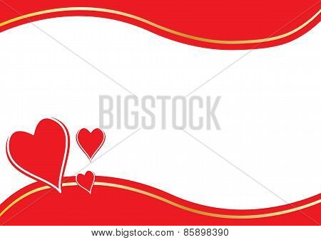 Red Hearts And Border