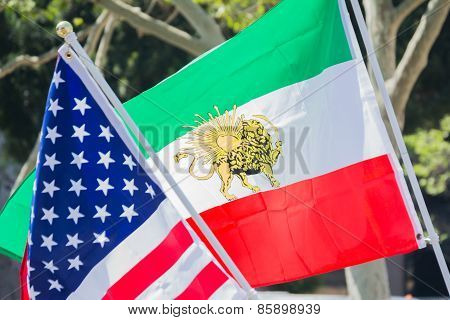 American And Iranian Flags At The Norooz Festival And Persian Parade