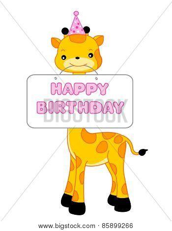 Happy Birthday Greeting With Giraffe