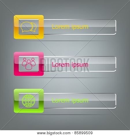 Set Of Vector Banners On Grey Background
