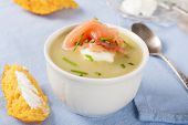 pic of leek  - Bowl of creamy leek soup with smoked salmon and cream cheese - JPG