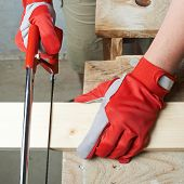 picture of sawing  - Sawing wooden pine board with the hand saw indoor composition - JPG