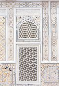 stock photo of mughal  - Wall decoration at the Tomb of I timad ud Daulah in Agra Uttar Pradesh India a Mughal mausoleum often described as the Baby Taj or jewel box - JPG