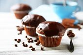 picture of chocolate muffin  - Tasty homemade chocolate muffins and cup of coffee on wooden table - JPG