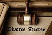 image of mandate  - Divorce Decree surrounded by gavel and books - JPG