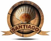 pic of old spanish trail  - Pilgrimage wooden symbol of Santiago de Compostela with seashell - JPG