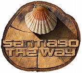 image of old spanish trail  - Pilgrimage wooden symbol of Santiago de Compostela with seashell - JPG
