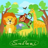 Постер, плакат: Cute african safari animals