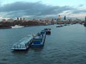 River Thames and the city ceter at dusk, London, England poster