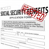 pic of social-security  - Social security application form with red rejected rubber stamp - JPG