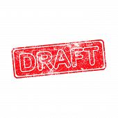 picture of draft  - draft red grunge rubber stamp vector illustration - JPG