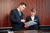 stock photo of receptionist  - Reception at work - JPG