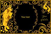 stock photo of oxen  - vector template with sign chinese horoscope in black and gold colors  - JPG