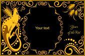 stock photo of horoscope signs  - vector template with sign chinese horoscope in black and gold colors  - JPG