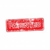 image of plagiarism  - patented red grunge rubber stamp vector illustration - JPG