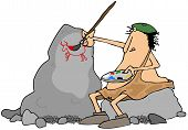 picture of beret  - This illustration depicts a caveman wearing a beret sitting on a boulder and painting pictures on another rock - JPG