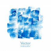 Постер, плакат: Blue brush smears Abstract stylish watercolor background
